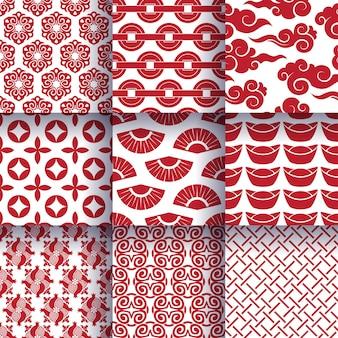 Conjunto de patrones sin fisuras de símbolos tradicionales chinos.