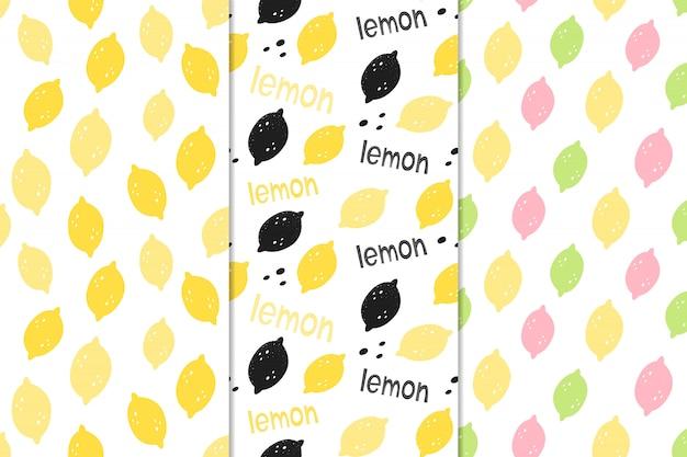 Conjunto de patrones sin fisuras vector con limones.