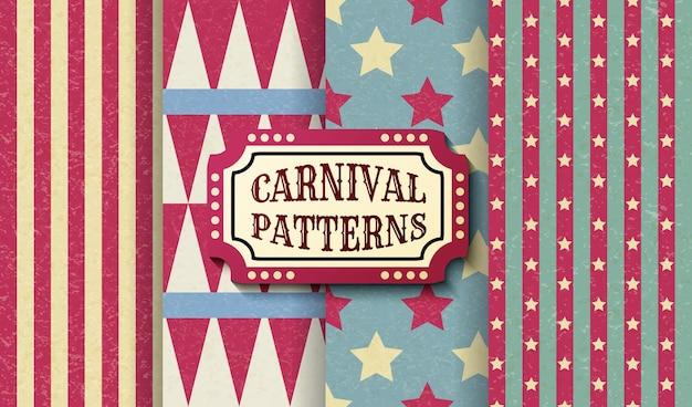 Conjunto de patrones sin fisuras vintage retro de carnaval