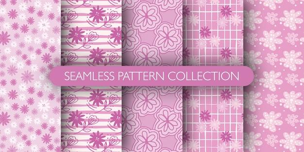 Conjunto de patrones de flor de contorno rosa doodle. daisy papel tapiz floral.
