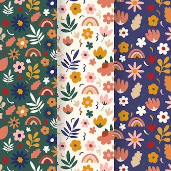 Conjunto de patrones florales de primavera dibujados a mano