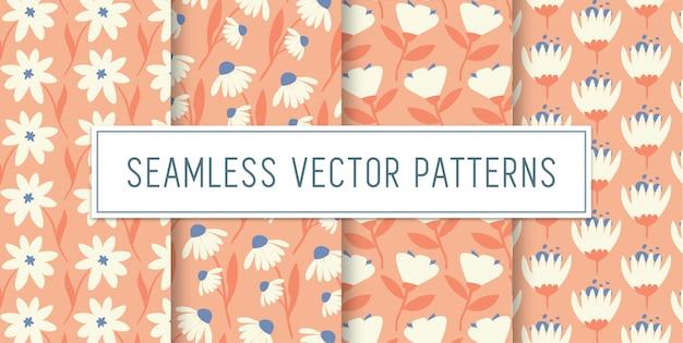 Conjunto de patrones de flores sin costuras