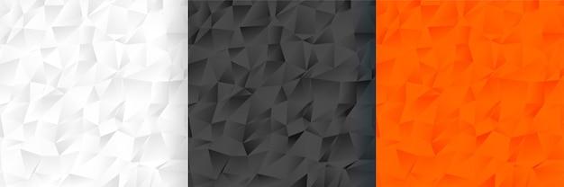 Conjunto de patrones de fondo de tres colores de baja poli abstracta