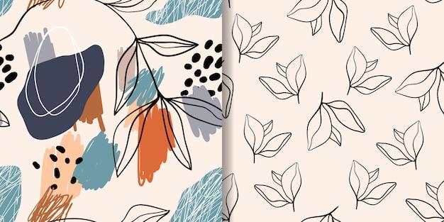 Conjunto de patrones / fondos abstractos sin costura, diseño moderno