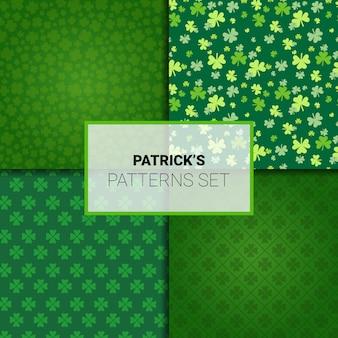 Conjunto de patrones para fondos sin fisuras de vacaciones del día de san patricio con hojas de trébol