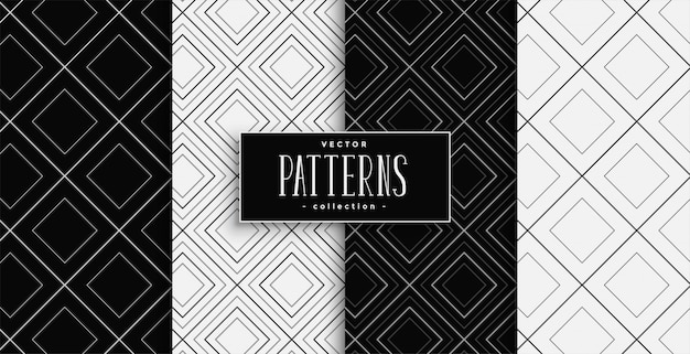 Conjunto de patrones de formas de diamantes en blanco y negro