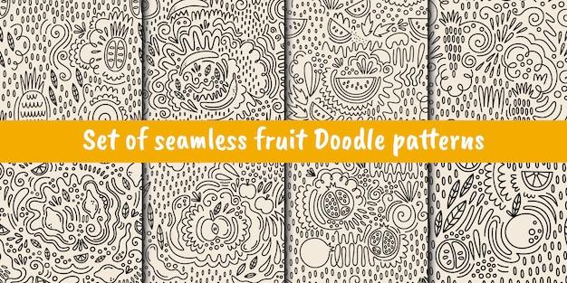 Conjunto de patrones de frutas sin fisuras vector en estilo doodle