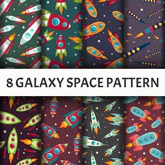 Conjunto de patrones de galaxia sin costuras.