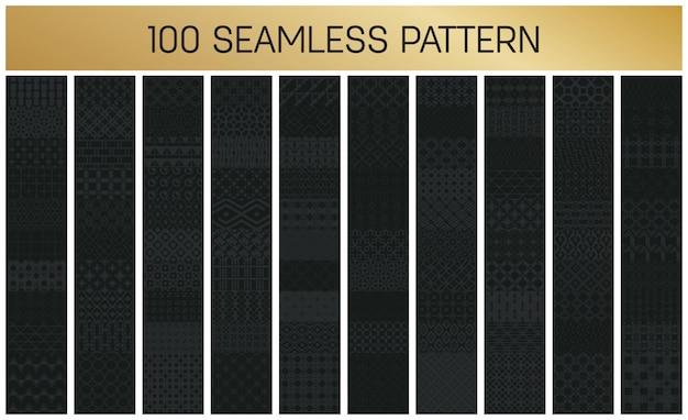 Conjunto de patrones geométricos 100 sin fisuras monocromo.