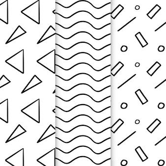 Conjunto de patrones geométricos dibujados a mano abstracto