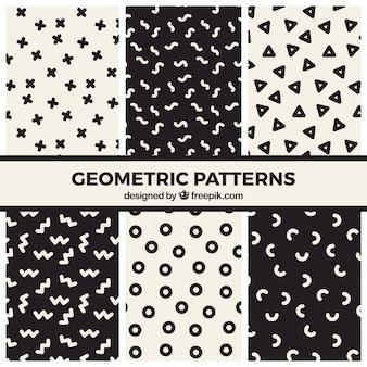 Conjunto de patrones geométricos divertidos en blanco y negro