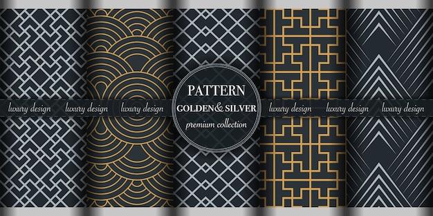 Conjunto de patrones geométricos dorados y plateados
