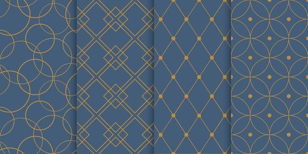 Conjunto de patrones geométricos sin fisuras. anillos, cuadrados, rombos y puntos superpuestos.