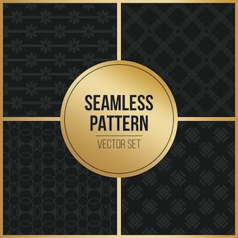 Conjunto de patrones geométricos sin fisuras monocromo.