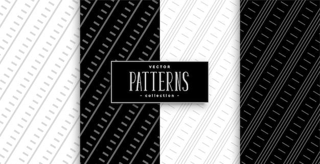 Conjunto de patrones geométricos de líneas diagonales en blanco y negro
