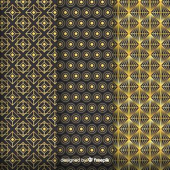 Conjunto de patrones geométricos de lujo dorado