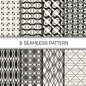 Conjunto de patrones geométricos monocromos.