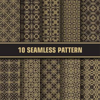 Conjunto de patrones geométricos de ornamento árabe