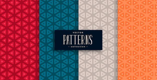 Conjunto de patrones geométricos triangulares y cuatro colores.