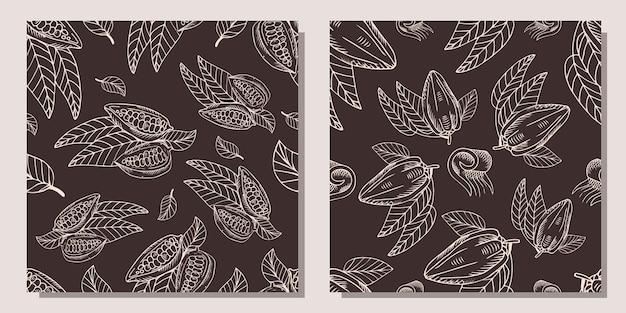 Conjunto de patrones con granos de cacao.
