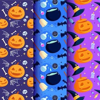 Conjunto de patrones de halloween de diseño plano