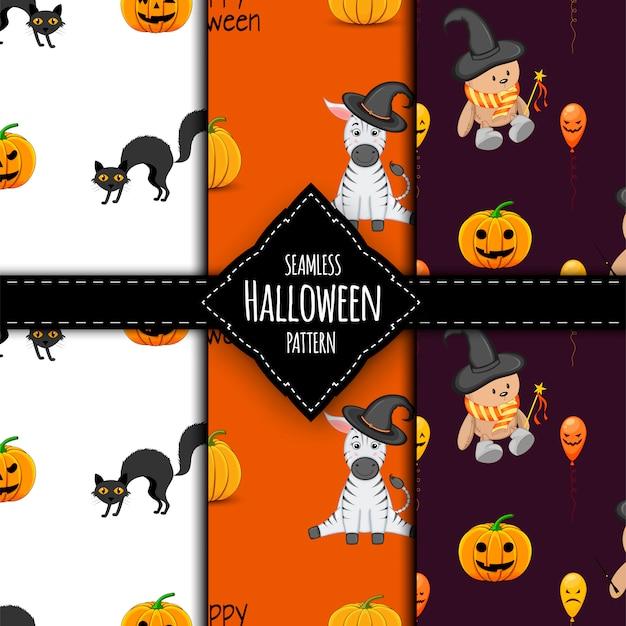 Conjunto de patrones de halloween estilo de dibujos animados ilustración.