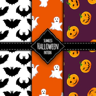 Conjunto de patrones de halloween estilo de dibujos animados