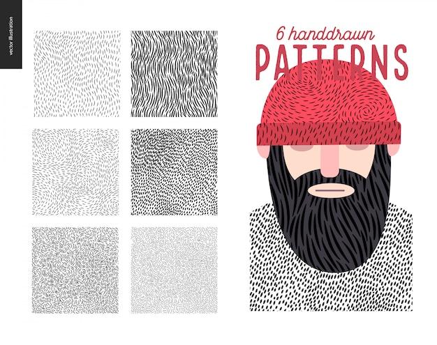 Conjunto de patrones de handdrawn