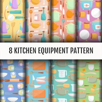 Conjunto de patrones de herramientas de cocina sin costuras.