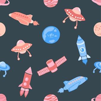 Conjunto de patrones inconsútil con cohetes espaciales