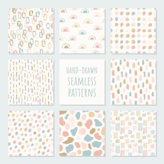 Conjunto de patrones inconsútiles contemporáneos abstractos. ilustración de moda moderna. perfecto para estampados textiles