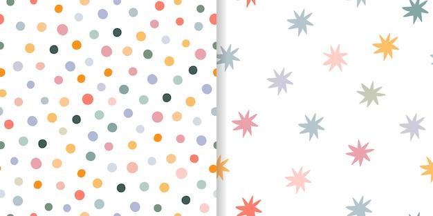 Conjunto de patrones infantiles sin costura, diseño decorativo diferente, colores pastel