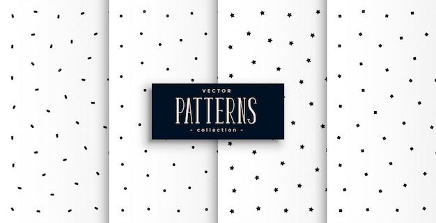 Conjunto de patrones lindos de círculo y estrellas en blanco y negro