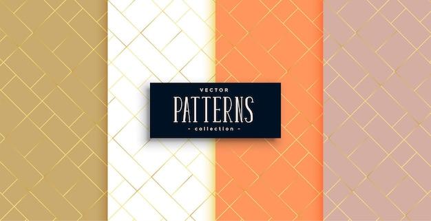 Conjunto de patrones de líneas diagonales doradas premium