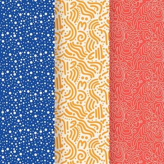Conjunto de patrones de líneas redondeadas de diferentes colores