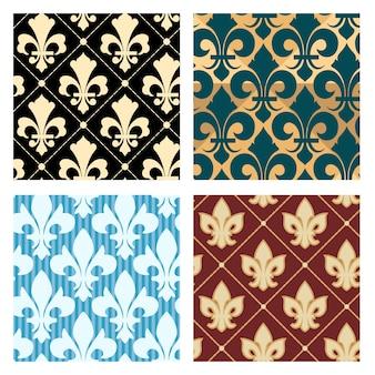 Conjunto de patrones de lirio real. flor perfecta decoración de fondo sin fin, ilustración vectorial
