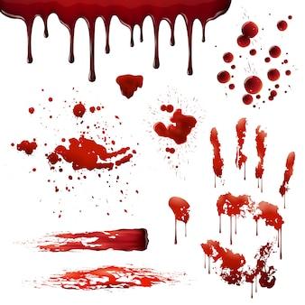 Conjunto de patrones de manchas de sangre realistas de salpicaduras de sangre
