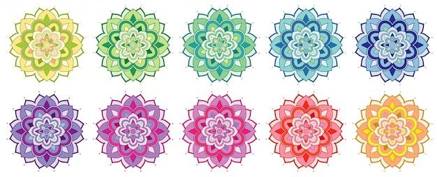 Conjunto de patrones de mandala en muchos colores.