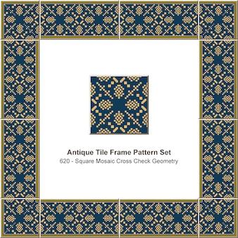 Conjunto de patrones de marco de azulejos antiguos geometría de verificación cruzada de píxeles de mosaico cuadrado amarillo, decoración de cerámica.