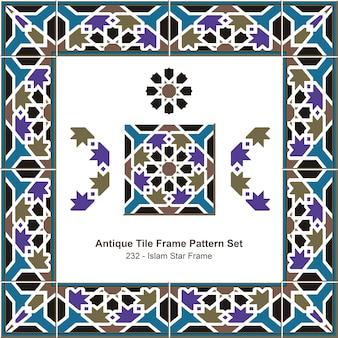 Conjunto de patrones de marco de azulejos antiguos marco de estrella del islam