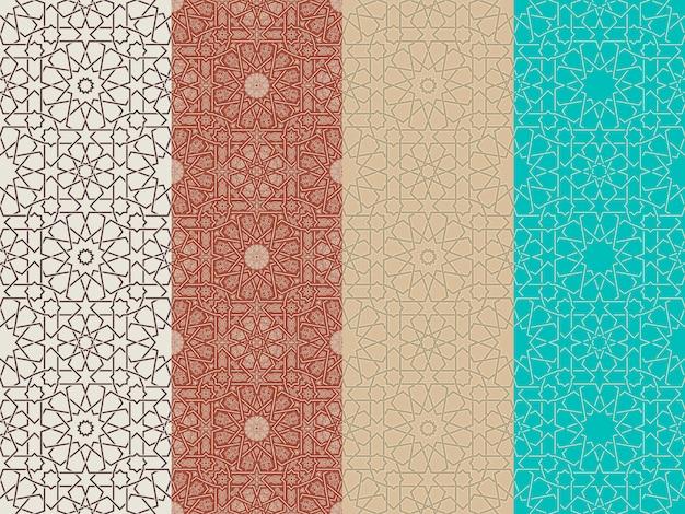 Conjunto de patrones marroquíes islámicos sin costura