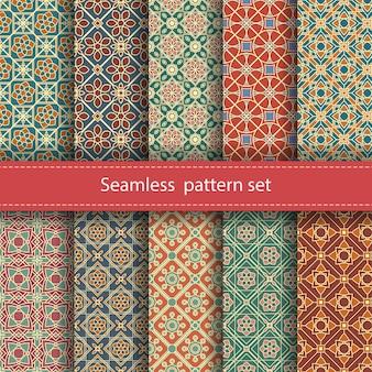 Conjunto de patrones de mosaico sin costura.