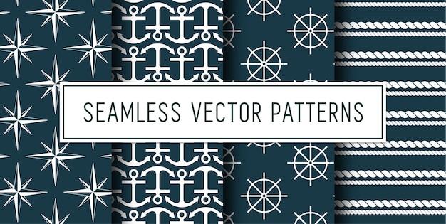 Conjunto de patrones náuticos sin costura