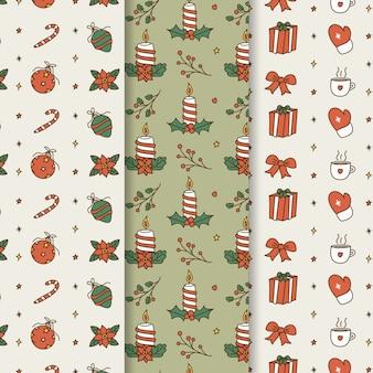 Conjunto de patrones de navidad dibujados a mano