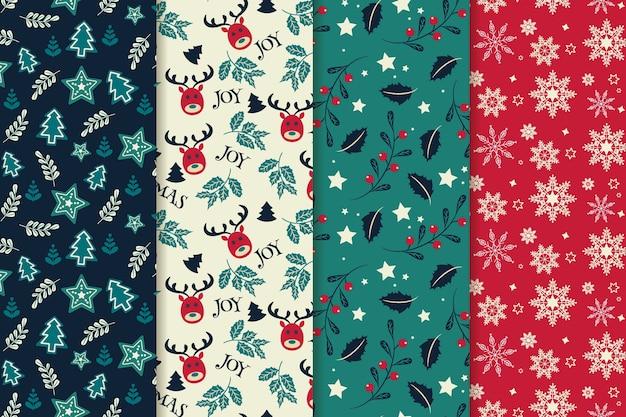 Conjunto de patrones de navidad de diseño plano