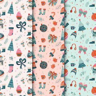 Conjunto de patrones navideños en acuarela