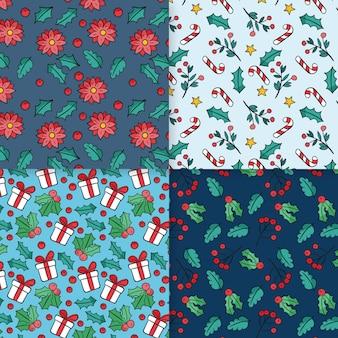 Conjunto de patrones navideños dibujados a mano
