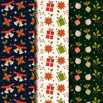 Conjunto de patrones navideños de diseño plano
