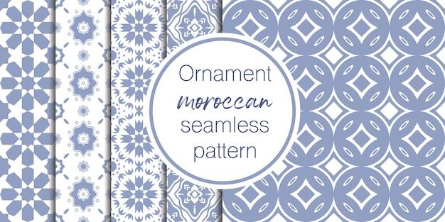 Conjunto de patrones de ornamento transparente árabe