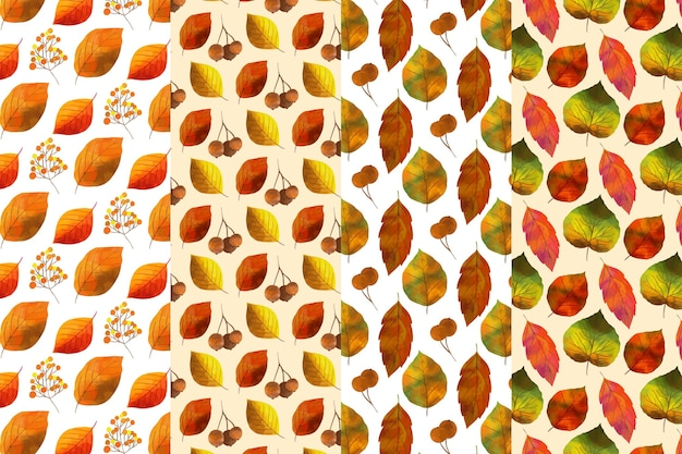 Conjunto de patrones de otoño acuarela